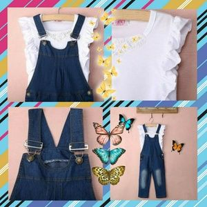 Other - 2 pc pearl top and denim overall